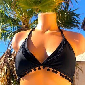 Mesh & tassels black bikini top